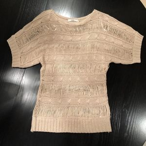 Papaya Open Cable Knit Sweater in Taupe, sz M NWOT